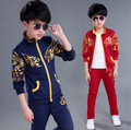 4-12 years boys Autumn china dragon children's clothing set cotton jacket+pants sports suit kids boy clothes sets  2017 New