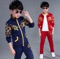 4-12 años niños Otoño dragón de china ropa para niños set chaqueta + pantalones de algodón traje de deportes para niños boy sistemas de la ropa 2017 Nuevo