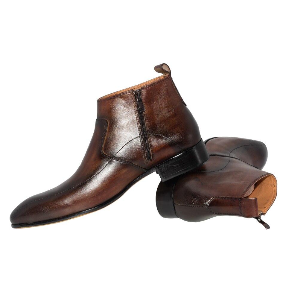 남자 드레스 가죽 부츠 기본 수제 커피 컬러 패션 럭셔리 브랜드 레이스 업 지퍼 발목 남자의 지적 발가락 드레스 oxfords 신발-에서기본 부츠부터 신발 의  그룹 3