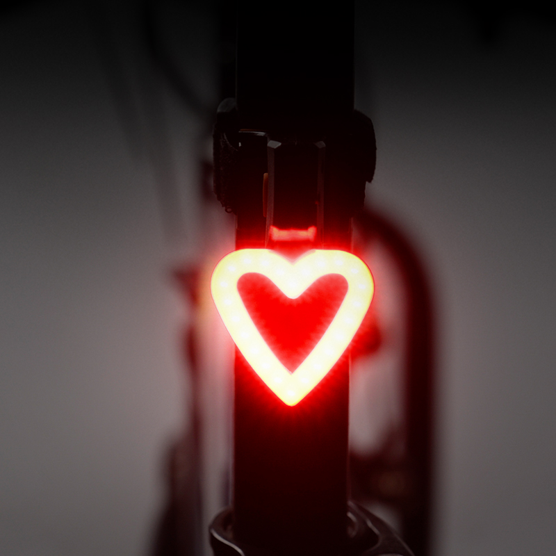 WHEEL UP Creative Cycling USB Rechargeable LED Bike Bicycle Tail Warning Light Rear Safety 5 Modes Heart Circular Shaped