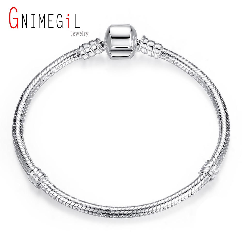 GNIMEGIL Clearance Sale Jewellery 16-23cm Women's 925 Stamp Silver 3mm Snake chains bracelet Original Jewelry fits Charm Beads