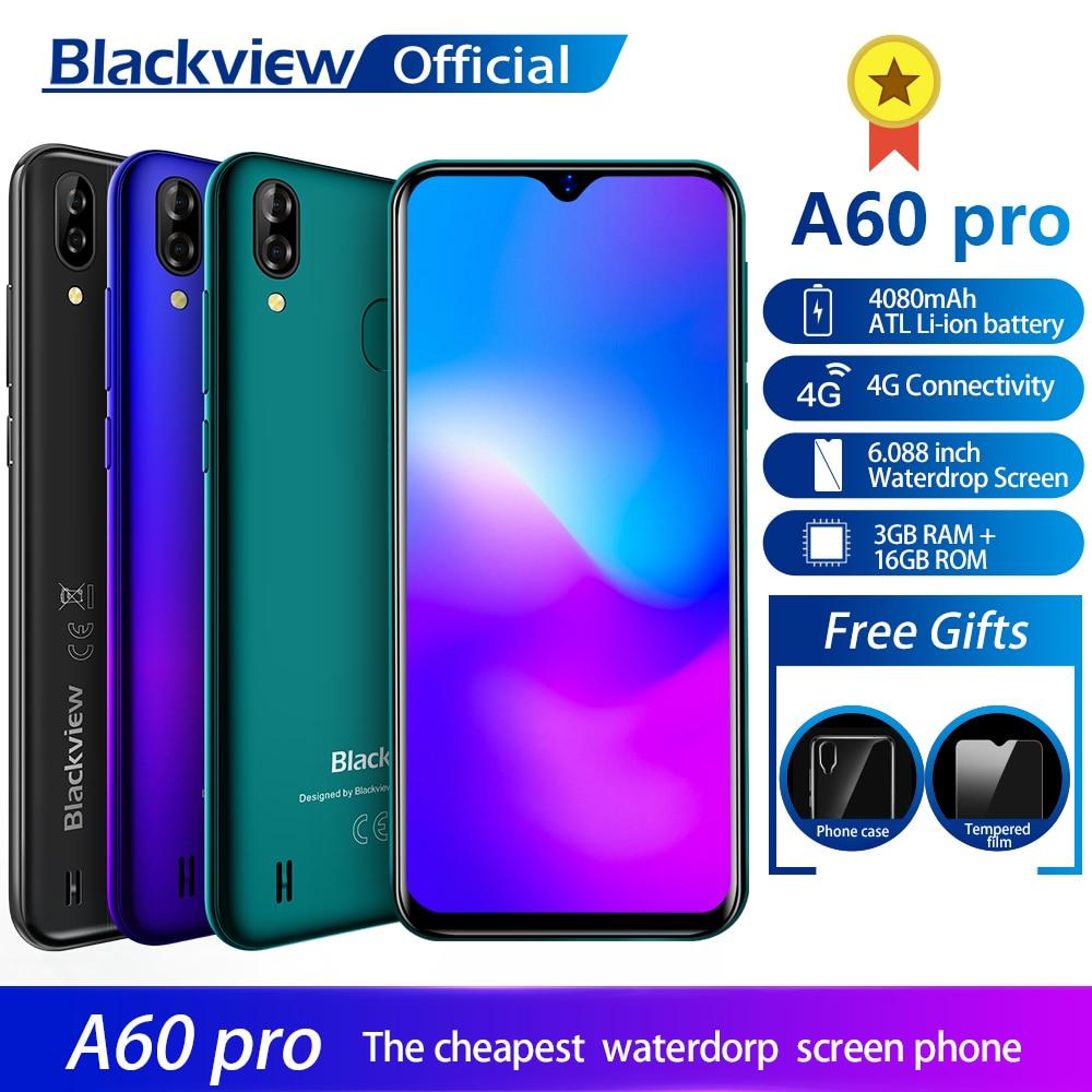 Купить Смартфон Blackview A60 Pro MTK6761 четырехъядерный Android 9,0 4080 мАч мобильный телефон 3 ГБ + 16 Гб Водонепроницаемый экран лицо ID 4G мобильный телефон на Алиэкспресс