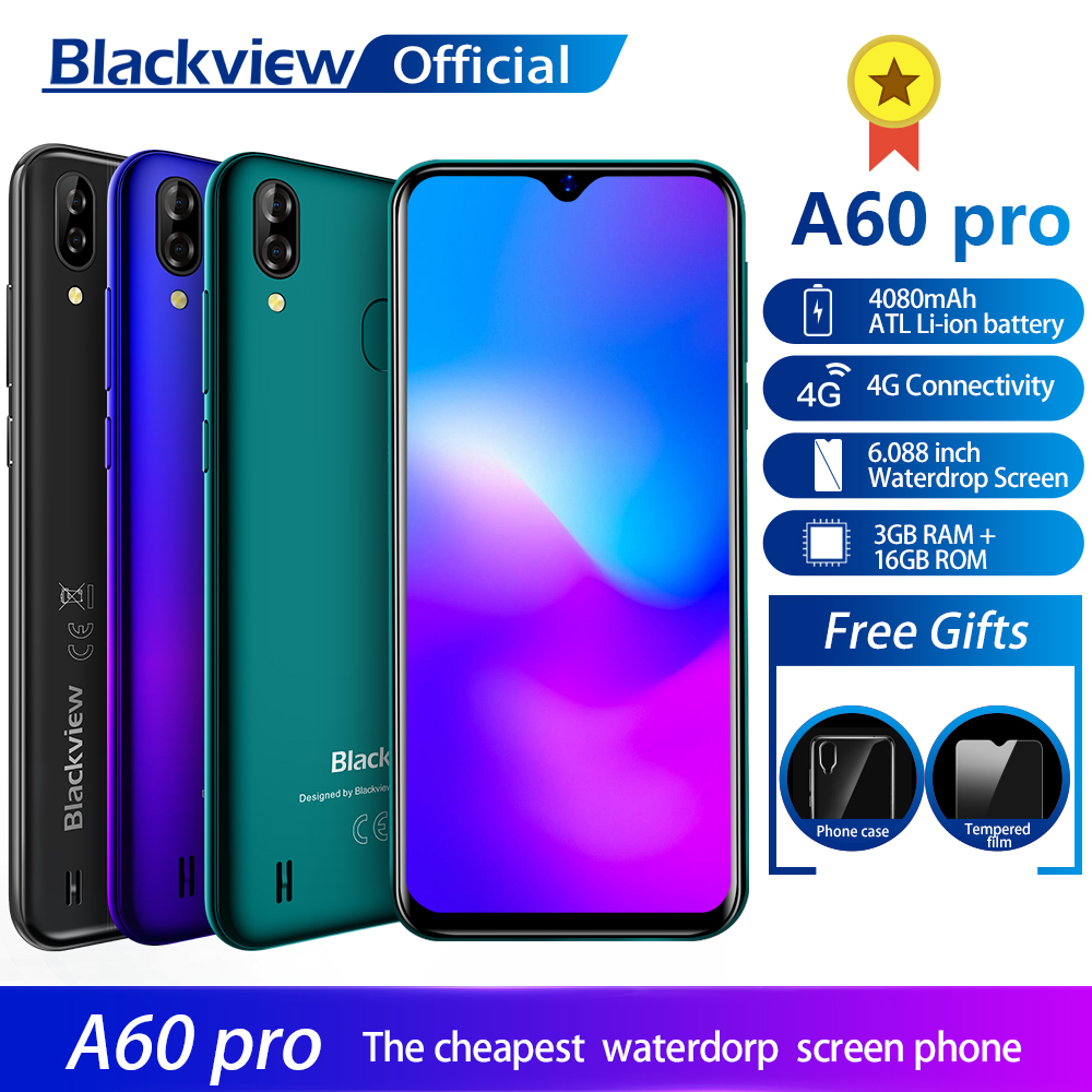 Blackview A60 Pro Smartphone MTK6761 Quad Core Android 9.0 4080mAh Cellphone 3GB+16GB Waterdrop Screen Face ID 4G Mobile Phone  - buy with discount
