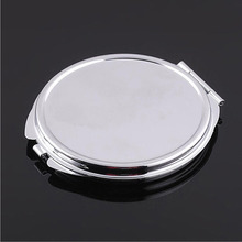 Free shipping 10pcs Silver Blank Compact Mirror Round Metal Makeup Mirror Promotional Gift for XMAS