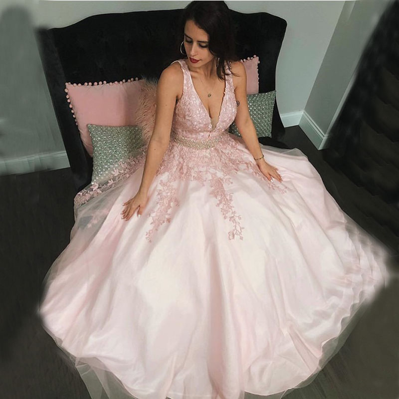 Sexy V-Neck   Prom     Dresses   A-line Sleeveless Appliques Vestidos De Formal Party Gowns Backless Plus Size Pink   Prom   Evening   Dresses