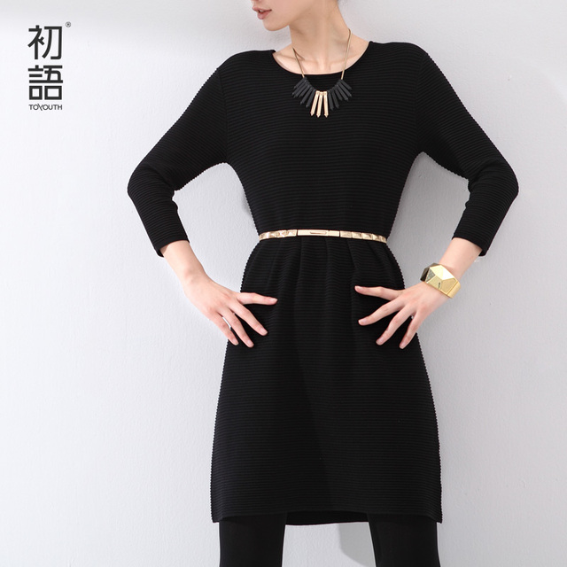 Toyouth New Autumn Midi One-Piece Dress Knitted Solid Color Pinched Waist O-Neck Ladies Slim A-Line Dress