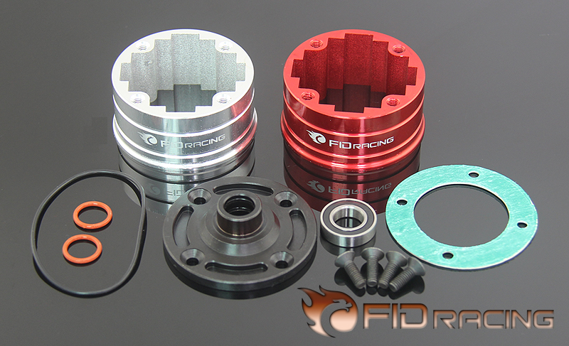 FID Alloy One-piece Center diff housing differential shell FOR LOSI 5IVE-T split front wheel differential speed metal shell for losi 5ive t 1pc red silver can choose