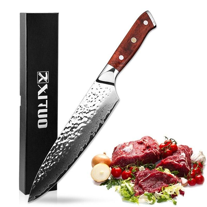 XITUO 2018 جديد دمشق سكين 8 بوصة المهنية طاه سكين 67 طبقة اليابانية دمشق الصلب VG 10 شفرة سكاكين المطبخ تزوير-في سكاكين مطبخ من المنزل والحديقة على  مجموعة 1