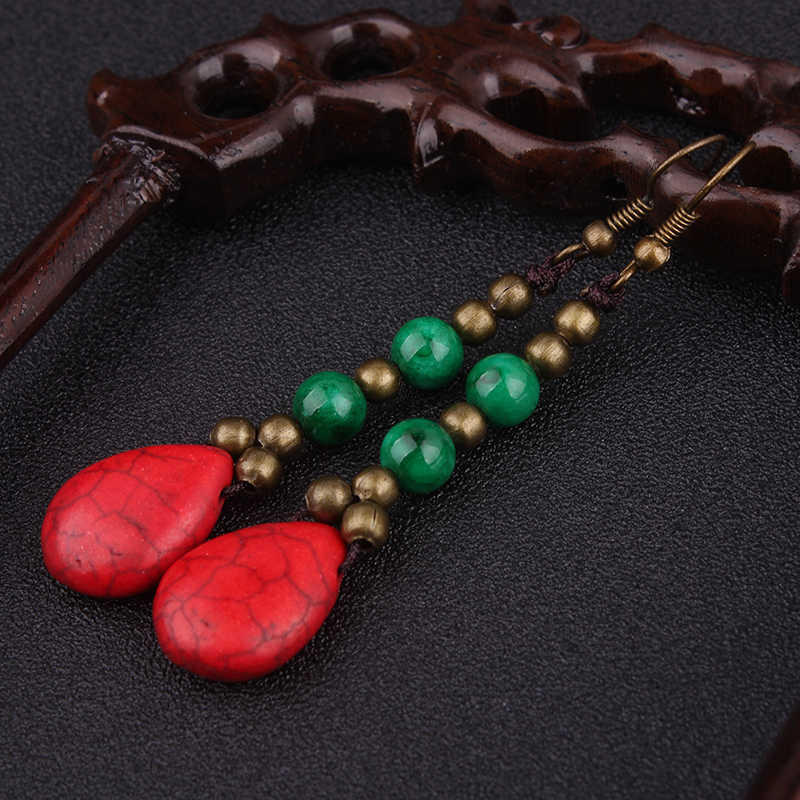 Baru moutain baru thailand Etnis antique kuningan beads anting buatan tangan antik perhiasan, Cina red stones menjuntai earrings