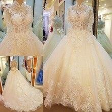 Korean white flowers Bride lace trailing wedding dress