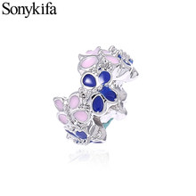 Sonykifa 2Pcs/lot 2019 Fashion Color butterfly Stacking Daisies Enamel Charm Beads Fits Pandora Bracelets Best Jewelry Gift(China)