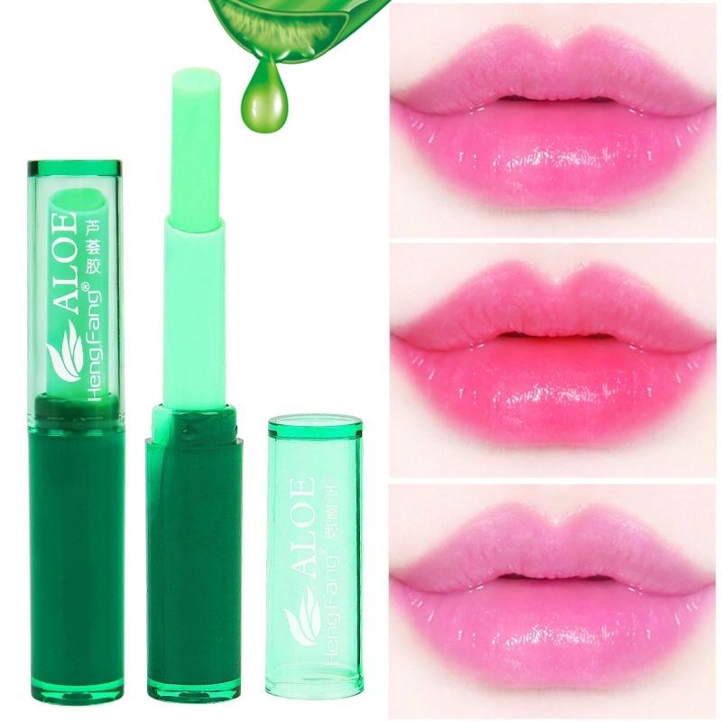 Aloe Vera Lip Balm Moisturizer Nutritious Colored Lip Balm Protect Magic Temperature Color Changing Lipstick Lipbalm Makeup