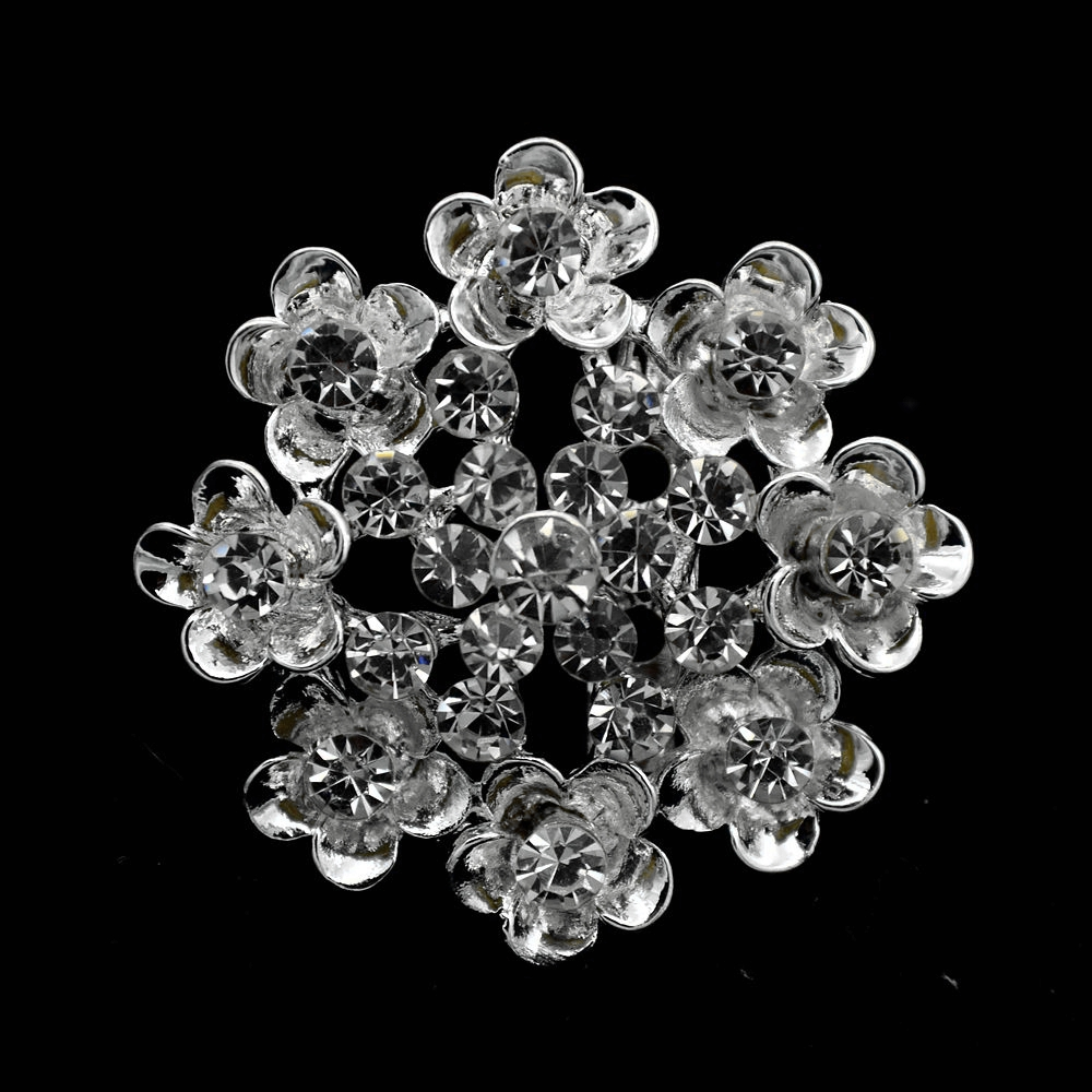 1.35 Inch Silver Plated Clear Rhinestone Crystal Diamante Small Flower  Brooch Prom Party Accessory