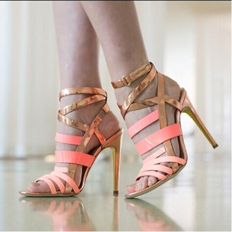 2017 Hot Selling Contrast Color Ankle Buckle Strap Crisscross Stiletto Heel Sandals Fashion Elegant Rose Red High Heel Sandals fashion women s sandals with metal and stiletto heel design