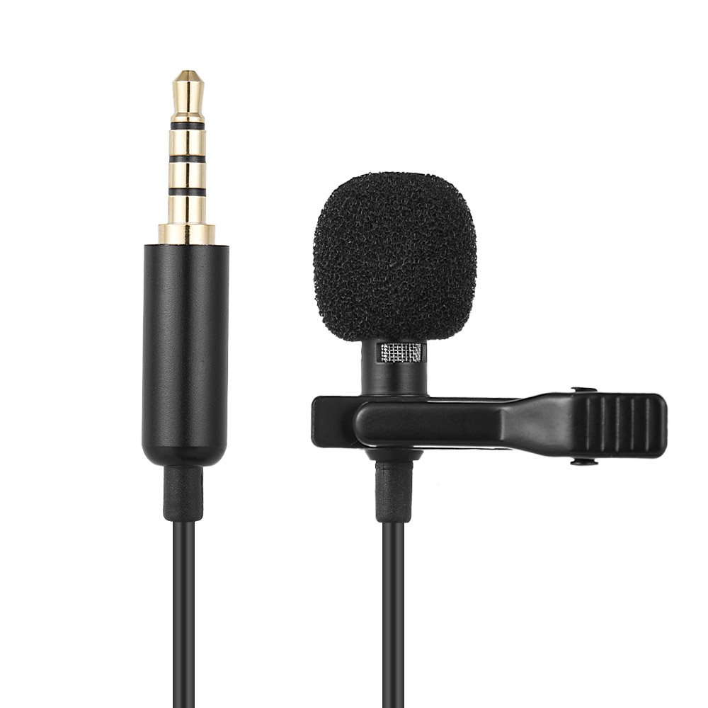 Portable 3.5mm Jack Hands-free Clip-on Lapel Lavalier Microphone Mini Condenser Wired Microphone for Smartphones PC Laptop line art
