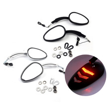 Triclicks motorcycle parts LED Turn Signals Side Mirrors For 1997-Later Harley Davidson Model BLACK