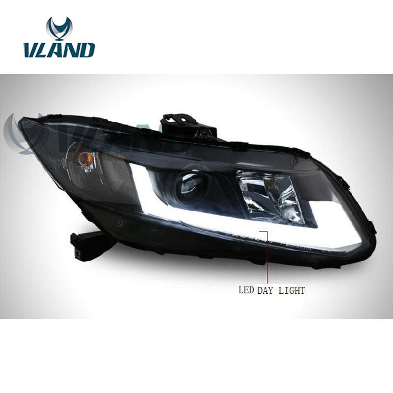 VLAND Factory pour phare de voiture pour Civic 2012 2013 2014 phare LED pour phare civique avec barre de lumière LED bi-xénon - 3