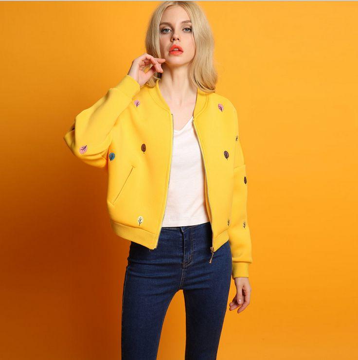 04d52813ef06d 2016 nova primavera outono das mulheres Europeias e Americanas bordado gola  preto amarelo azul bombardeiro jaqueta do uniforme de Beisebol em Jaquetas  ...