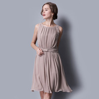 100% Silk Chiffon Dress Natural Silk Women Dress Exclusive Desigual Summer New Party Dresses L,XL,XXL