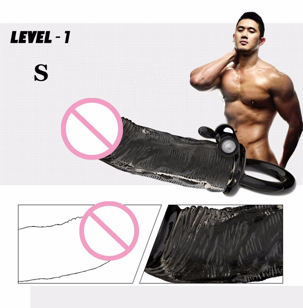 Please me Vibrating Penis sleeve Penis enlargement Penis extender Reusable Condoms bomba peniana pro extender Sex toys for men 4