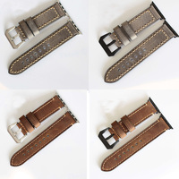 TJP Top Quality Gray Brown Genuine Leather Apple Watch 1 2 Strap 38mm 42mm Iwatch Watchbands
