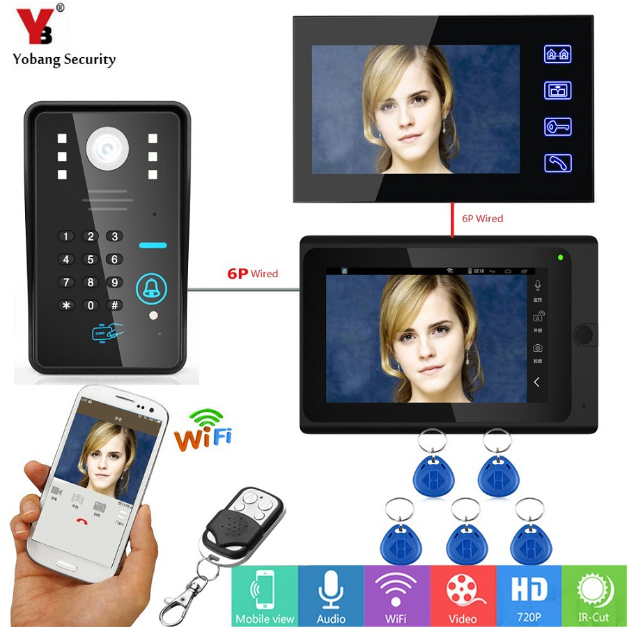 Yobang Security Touch 7 Inch Monitor Video Door Phone Intercom Entry System WIFI RFID Password Video Doorbell System + 5 Keyfobs|Video Intercom| |  -