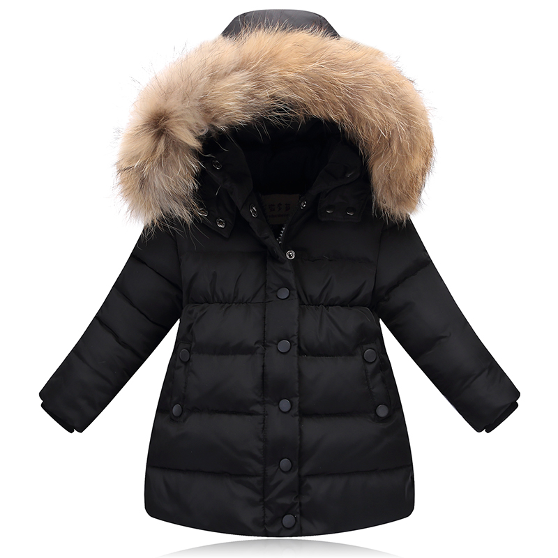 New 2018 Girls' down jacket kids thicken warm coat children's down winter outdoor jacket parkas raccon fur on hooded jacket 2-7Y kids winter jacket 2018 new brand winter jacket girls coat with real fur hooded girls warm down jacket outerwear parkas 5 14t