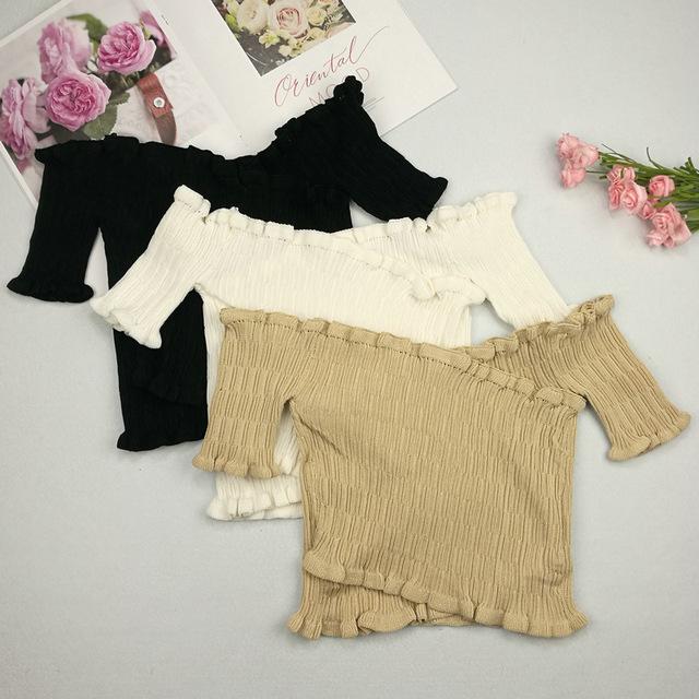 Off Shoulder Crochet Sexy Crop Tops