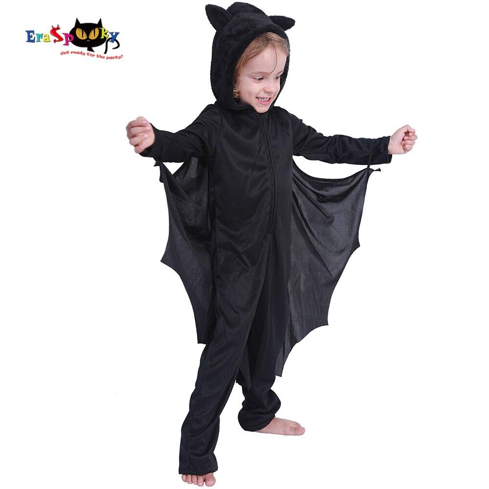 Eraspooky Halloween Costume For Kids Black Bat Cosplay Child Purim Carnival Party Costume Boy Hood Jumpsuit Cloak Fancy Dress