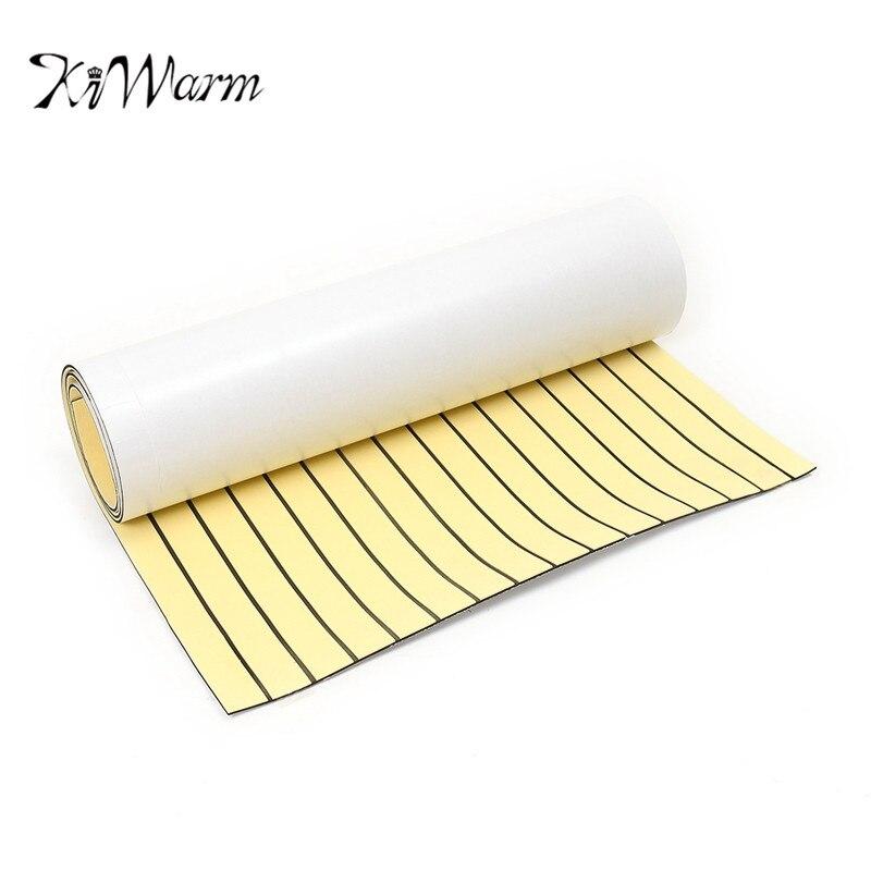 KiWarm 90x230cm Gold Self Adhesive Marine Flooring Synthetic EVA Foam Teak Boat Yacht Decking Sheet Foam <font><b>Floor</b></font> Mat Art Decor