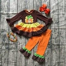 Осенний костюм на День Благодарения для маленьких девочек; коричневый, оранжевый, турецкий костюм; штаны в горошек; одежда с оборками; эксклюзивные аксессуары