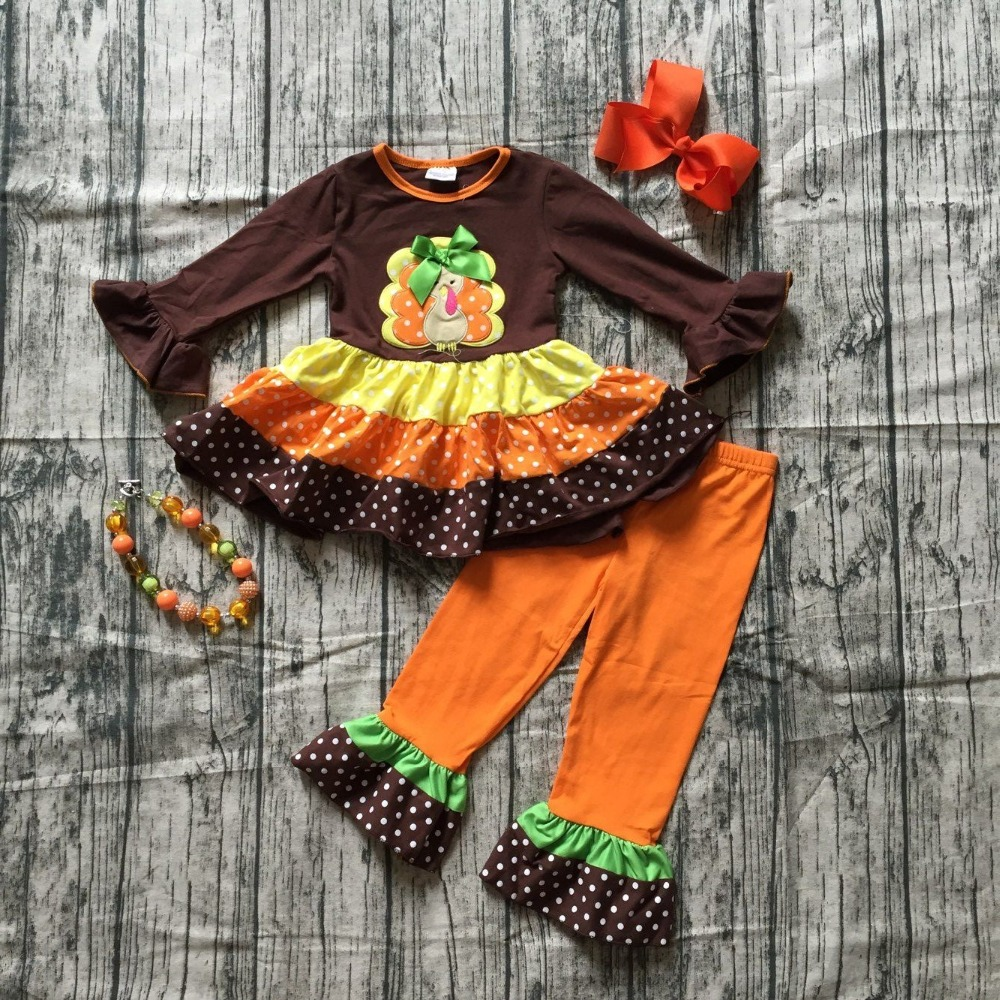 autumn thanksgiving Fall/Winter baby girls brown orange turkey outfits polka dot pant clothes ruffle boutique match accessories solid ruffle trim polka dot top