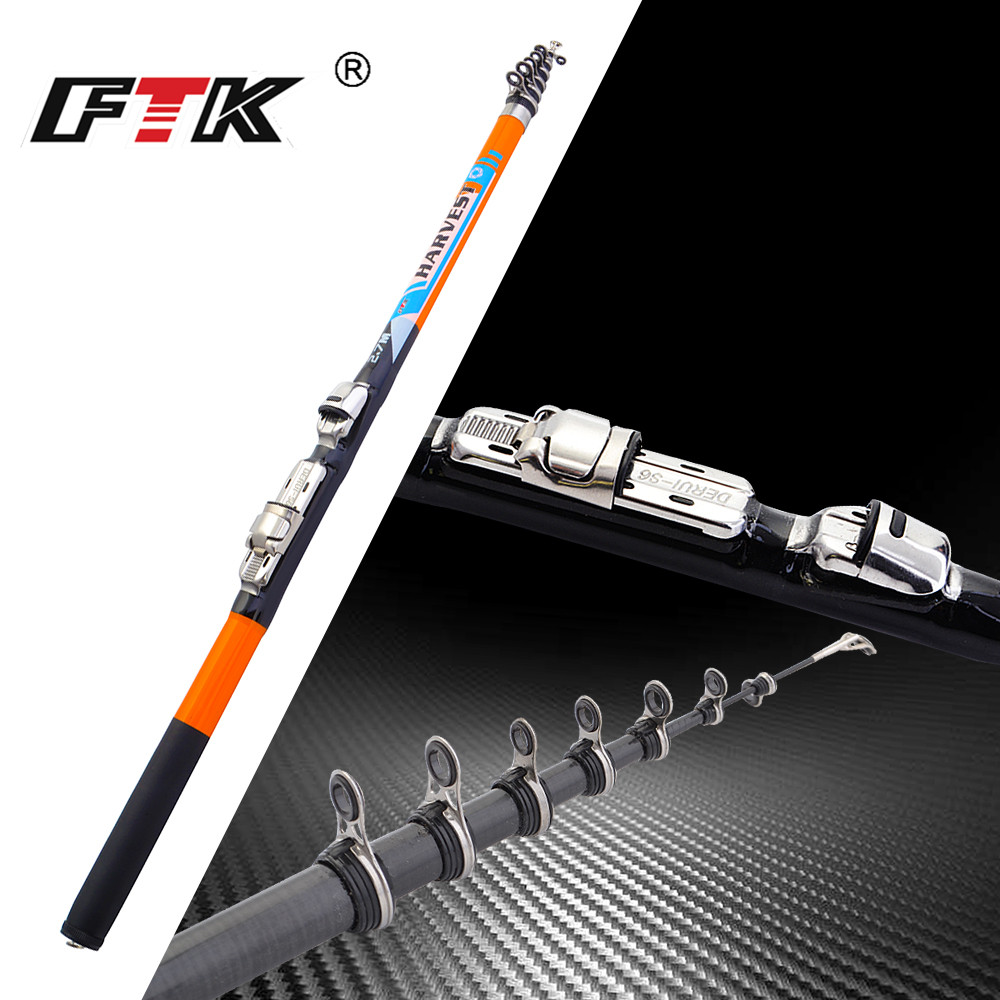 FTK 2018 new 1.5M-2.7M Super Hard Carbon Spinning Fishing Rod Ice Fishing Rod Rock Fishing Rod Telescopic Sea Pole Stick