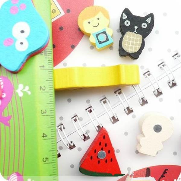 19 Pcs/Set Fridge Magnet Wooden Colourful Cartoon Animals Refrigerator Magnets Childrens Kids Gifts @LS