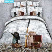 Cool Western Cowboy Bedding Set Hat On The Boots Duvet Cover Set with Pillowcases Super Soft Bedclothes 3/4 Pieces bed linens 3d