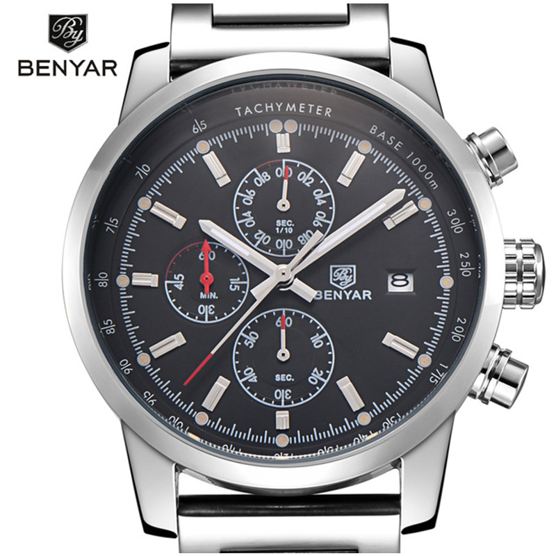 BENYAR Fashion Chronograph Sport Mens Watches Top Brand Luxury Military Stainless Steel Strap Quartz Watch Relogio Masculino e pak brand new concept pull out chrome single handle kitchen and bathroom sink faucet lj92359