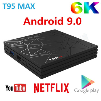 T95 MAX Smart tv BOX Android 9,0 6 K 4 ГБ ОЗУ 64 Гб ПЗУ Allwinner H6 четырехъядерный H.265 HD USD3.0 2,4G Wi-Fi YouTube T95MAX телеприставка