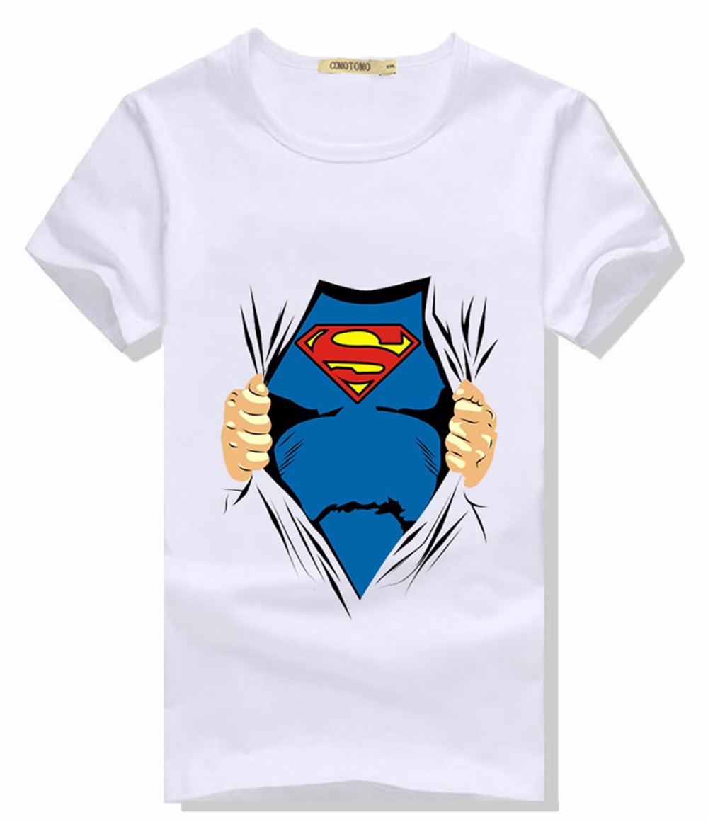 short sleeve t shirt men summer casual super man cool mens. Black Bedroom Furniture Sets. Home Design Ideas