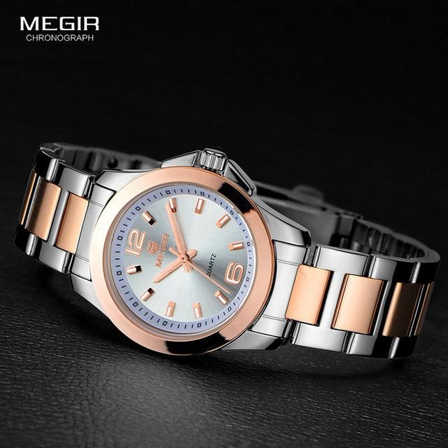 Megir 간단한 스틸 쿼츠 손목 시계 여성을위한 미니멀리즘 아날로그 시계 여성 시계 시간 방수 Relogios 5006L 7N0