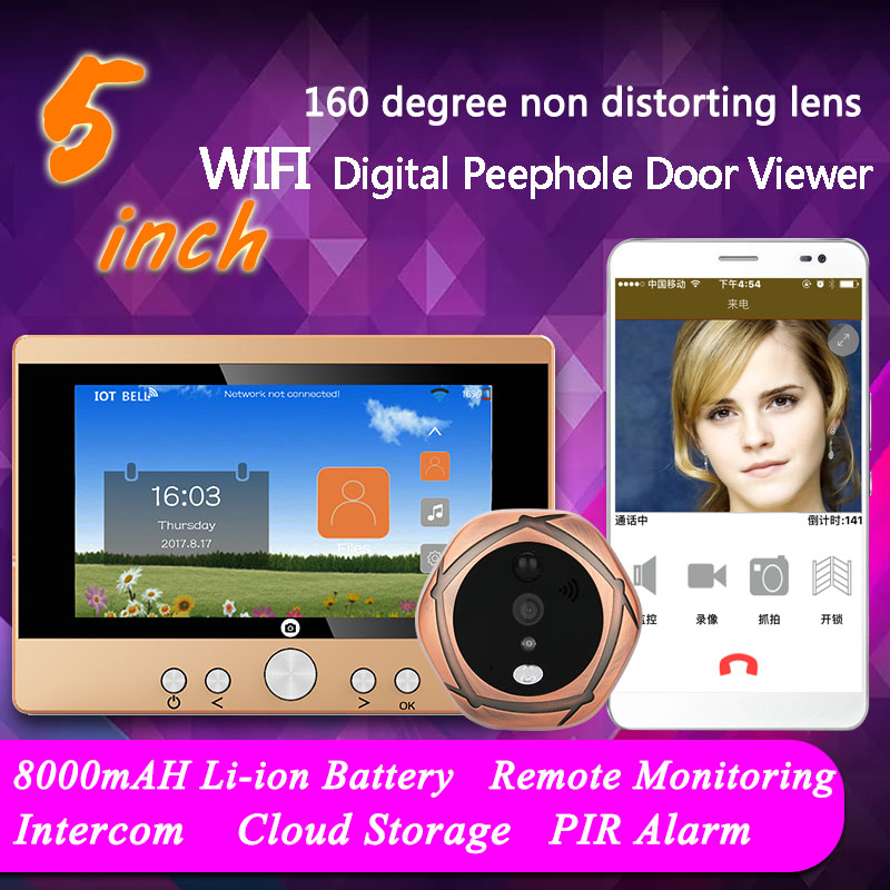 720P WiFi Wireless Digital Peephole Door Viewer 5 Front Door Peephole Camera Wifi Doorbell with Intercom or take picture or tak цена