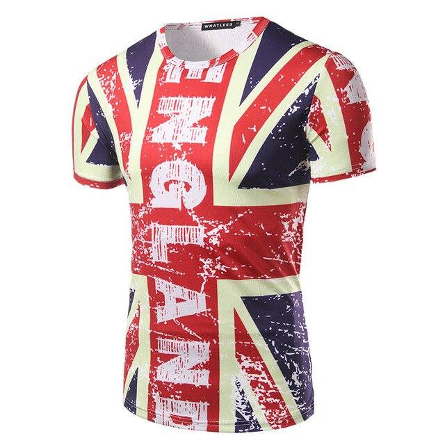Novos Homens Chegada do Verão 3D t-shirt Da Forma de Impressão Bandeira Britânica Pattren Projeto dos homens camiseta de manga curta Homem Magro Ocasional T-shirt