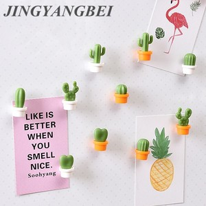 6pcs Fridge Magnets Cute Mini Succulent Plant Vase set Magnet Button Cactus Refrigerator Message Sticker Magn
