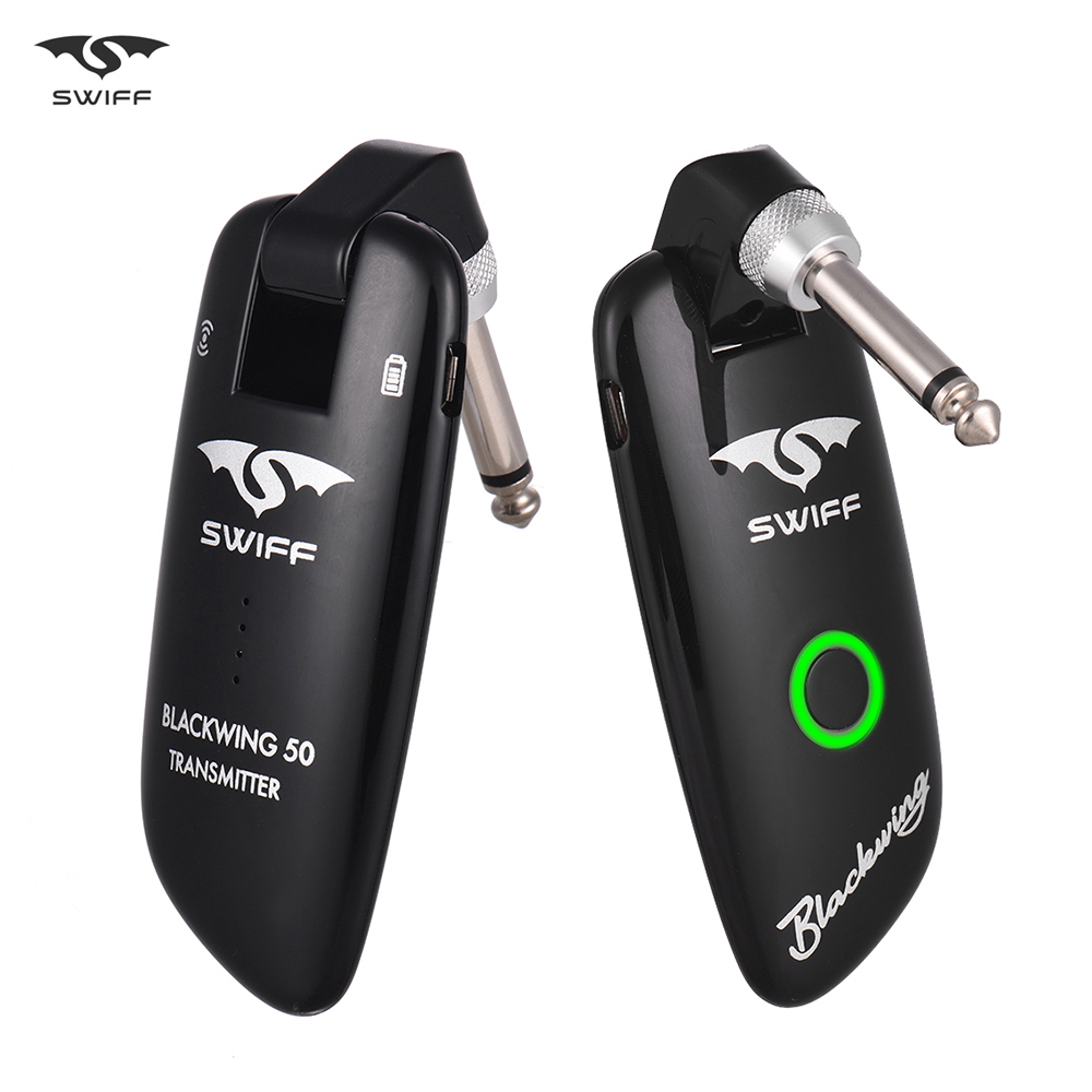 SWIFF WS 50 UHF Wireless Guitar Transmitter Receiver System 50M Transmission Built in Rechargeable Battery for