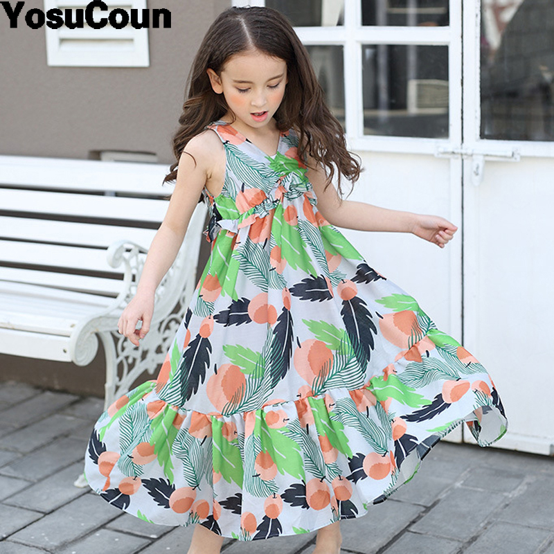 где купить  4-16 Years Girl Dress Bohemian Summer Sarafan Floral Sundress New Clothes Children Dresses Baby Costume Kids Clothing For Girls  по лучшей цене