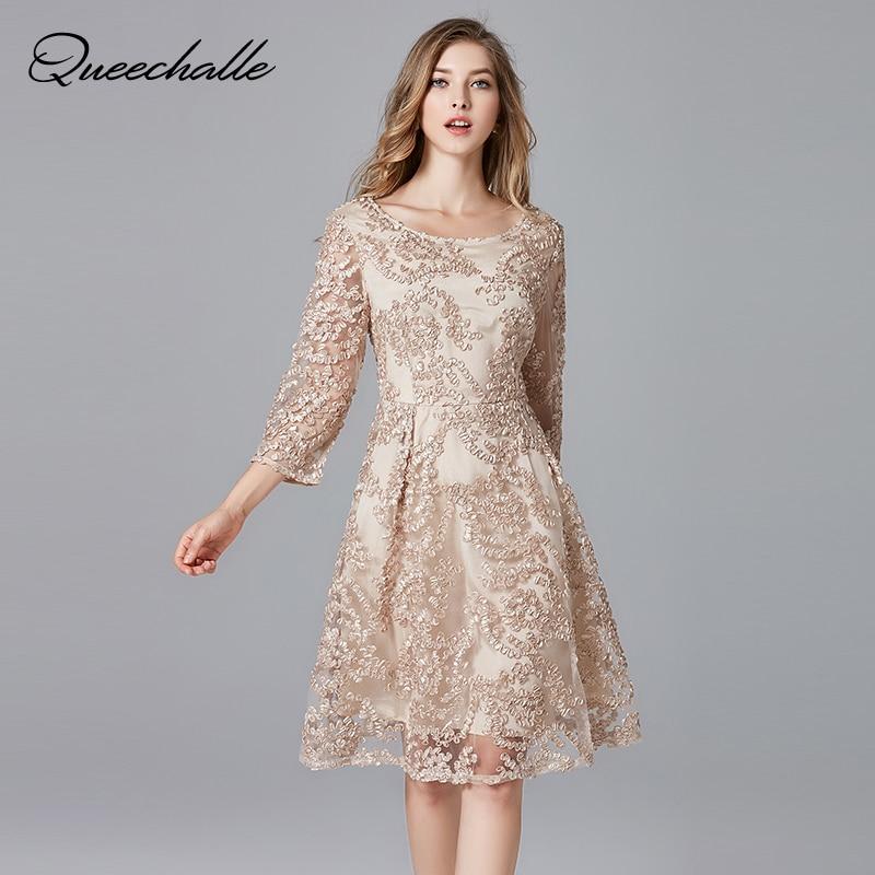 Queechalle big size elegant dress for Women dress lace embroidery party dress 3xl 4xl 5xl Plus