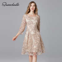 Queechalle big size elegant dress for Women dress lace embroidery party dress 3xl 4xl 5xl Plus size slim a-line dresses female