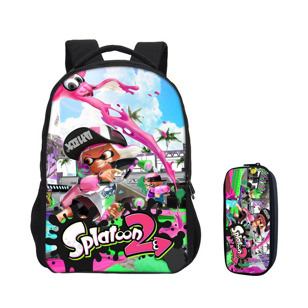 Splatoon 2 Imprime Sacs À Dos 2 pcs/ensemble Pour Garçons Filles Sac D'école De Mode Anime Bande Dessinée Bookbag Enfants Casual Sacs À Dos Mochila