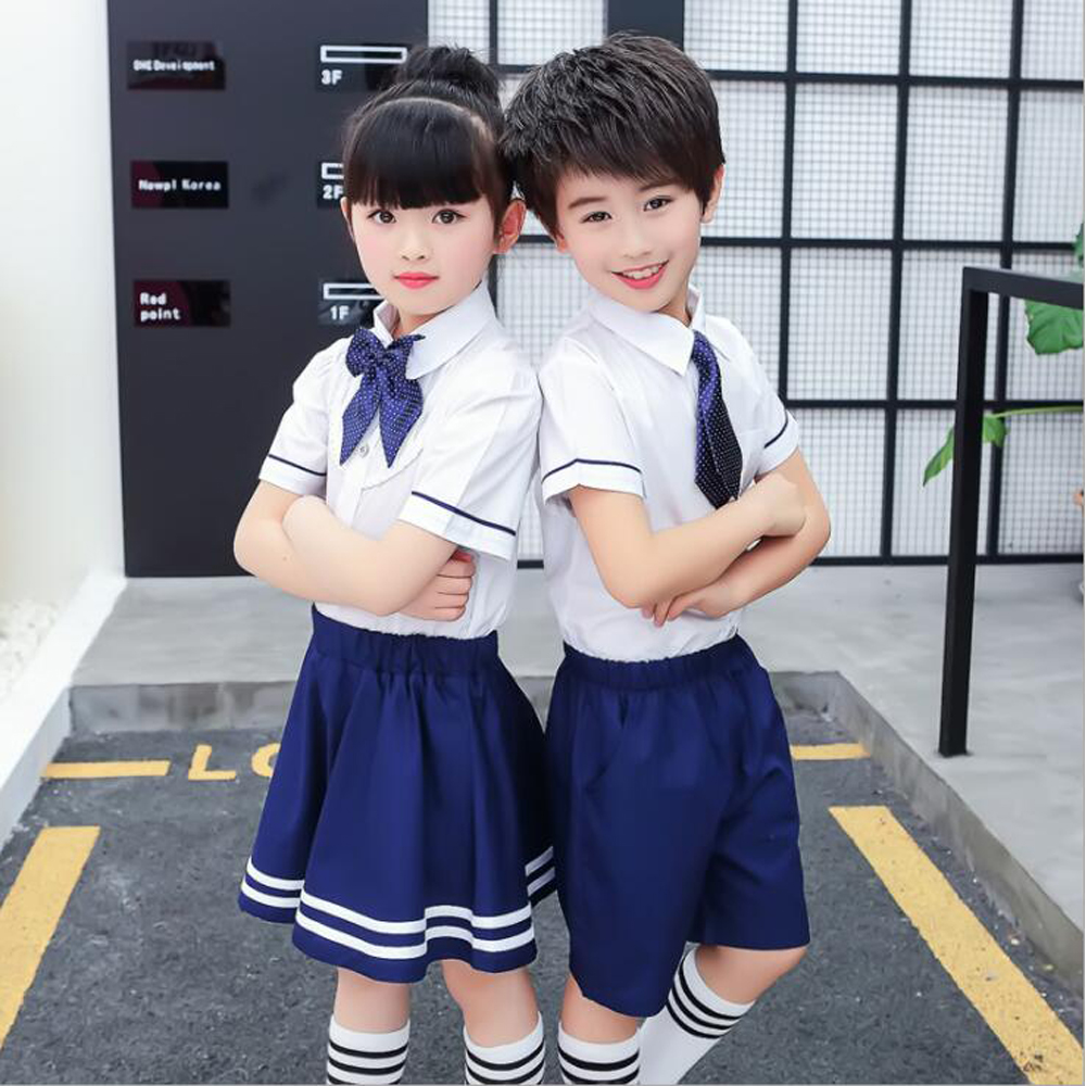 Outfit Girl 10 Korea Children Japanese Korean School Uniforms For Girls Boys Kids Junior High Student Summer Clothes Outfits Tops Navy Skirt In From