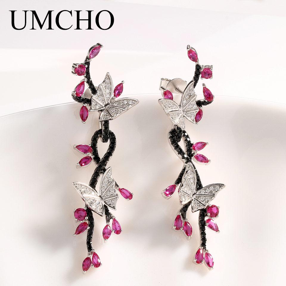 UMCHO Luxury Butterfly Real 925 Sterling Silver Jewelry Created Ruby Black Spinel Earrings Special Gifts For Women Fine Jewelry faux ruby butterfly earrings