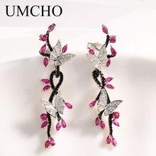 UMCHO mariposa de lujo Real 925 joyería de plata Creado Ruby Black Spinel pendientes especiales regalos para mujeres joyería fina